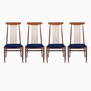 Personalisierbare dänische Mid-Century Stühle mit hohen Rückenlehnen, 4er Set