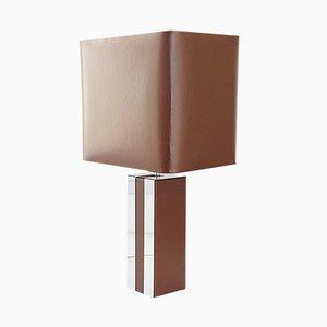 Lámpara de mesa Mid-Century de metal cromado y cuero sintético