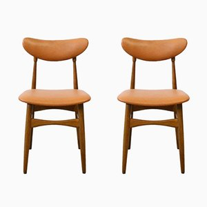 Mid-Century Wood & Skai Chairs, 1960s, Set of 2