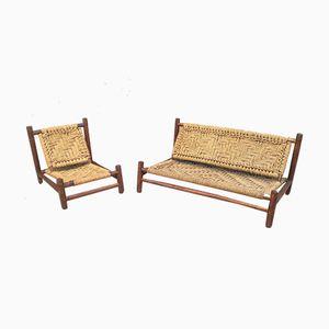 Bank und Stuhl von Adrien Audoux & Frida Minet für Vibo, 1950er