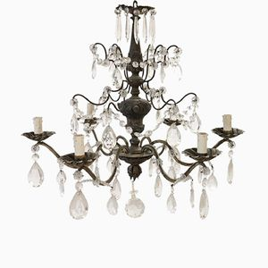 Vintage Bronze Chandelier and Crystal Drops, 1950s