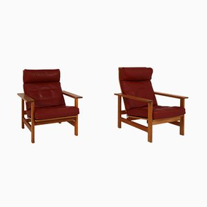 Danish Lounge Chairs in Oak and Leather by Søren Holst for Frederecia Furniture, 1976, Set of 2