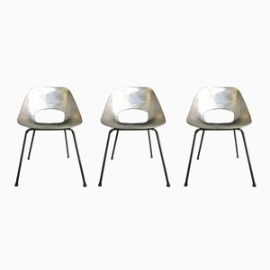 Aluminum Tonneau Chairs by Pierre Guariche, 1950s, Set of 3