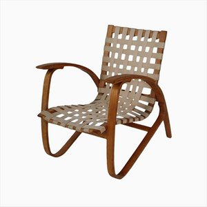 Bentwood Lounge Armchair with Woven Straps by Jan Vanek, 1930s