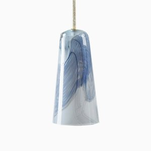Delta Pendant Lamp in Light Grey & Turquoise, Moire Collection, Hand-Blown Glass by Atelier George