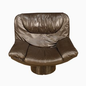 Italian Leather Lounge Chair from Acerbis, 1970s