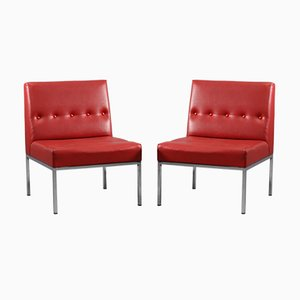 Red Lounge Chairs, 1960s, Set of 2