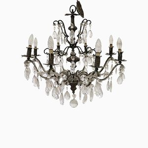Vintage Bronze Chandelier with Swarovski Crystals, 1950s