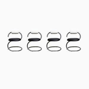 Cobra Chairs in Schwarz & Weiß von Giotto Stoppino, 1970er, 4er Set