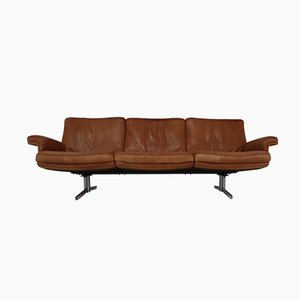 Model DS 35 Three-Seater Sofa in Soft Ailine Cognac Leather from De Sede, 1960s
