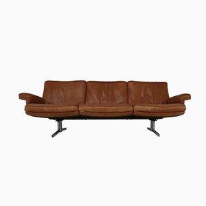 Modell DS 35 3-Sitzer Sofa in cognacfarbenem Anilinleder von De Sede, 1960er