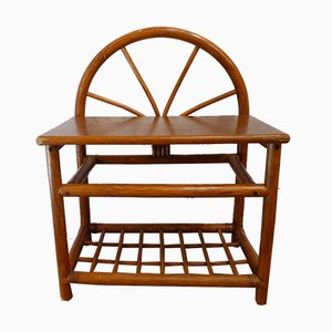 Small Arch Rattan & Wood Cabinet, 1960s