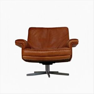 Model DS 35 Swivel Lounge Armchair in Soft Cognac Aniline Leather from de Sede, 1960s