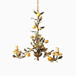 Italian Lemon Tole Chandelier, 1940s