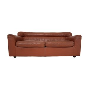 Cognac Buffalo Neck-Leather Sofa from Durlet, 1970s