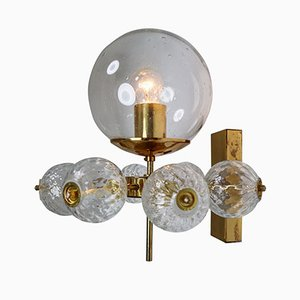 Wall Light with Brass Fixture, 1970s