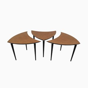 Small Italian Triangle-Shaped Coffee Tables, 1960s, Set of 3