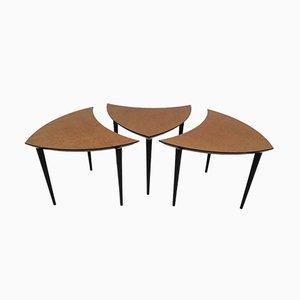 Tavolini da caffè triangolari, Italia, anni '60, set di 3