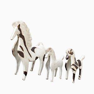 Caballos de cerámica de Bruno Gambone, años 70. Juego de 3