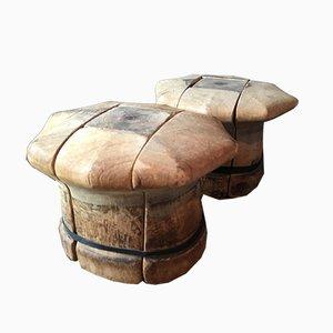 Unterteilte französische Vintage Hutformen aus Holz, 2er Set