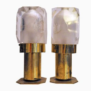 Italian Brass & Plexiglas Lamps, 1970s, Set of 2