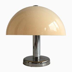 Lámpara de mesa británica de metal cromado y metacrilato, años 70