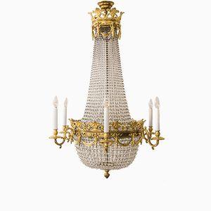 Vergoldeter Louis XVI Kronleuchter aus Bronze aus dem 19. Jh.