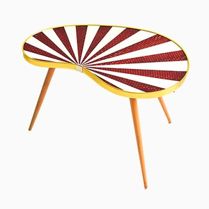 Mid-Century Kidney Table with Red Stripes, 1960s