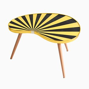 Mesa en forma de riñón Mid-Century a rayas amarillas, años 60