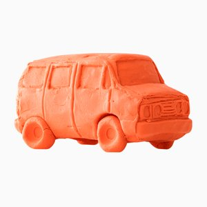 Voiture Van Orange Pêche en Céramique par Keith Simpson pour Fort Makers