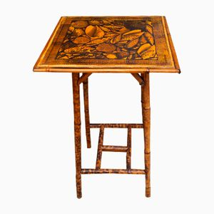 Antique Bamboo Table with Shell Decoupage