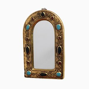 Vintage Glazed Ceramic Wall Mirror by François Lembo