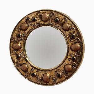 Specchio a muro vintage in ceramica dorata di François Lembo