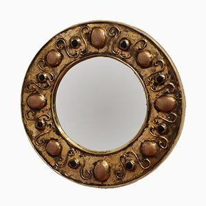 Vintage Gilded Ceramic Wall Mirror by François Lembo
