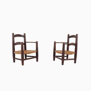 Sessel aus Stroh, 1950er, 2er Set