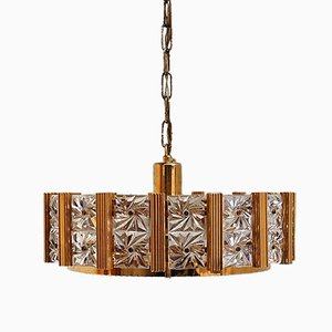 Lámpara colgante danesa dorada, años 60