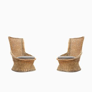 Vintage Rattan Lounge Seats, 1960s, Set of 2