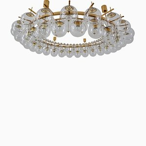Large Hotel Chandelier with Brass Fixture & Handblown Glass, 1960s