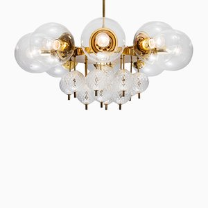 Mid-Century Chandelier with Brass Fixture & Handblown Glass, 1970s