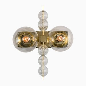 Hotel Wall Sconce with Brass Fixture, 1970s