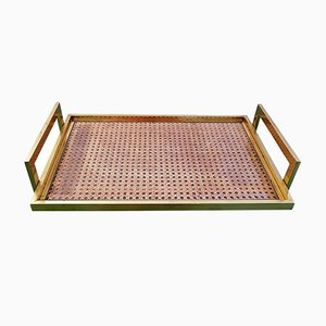 Rattan, Brass and Glass Tray, 1970s