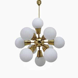 Mid-Century Sputnik Chandelier in Opaline Glass & Brass, 1960s