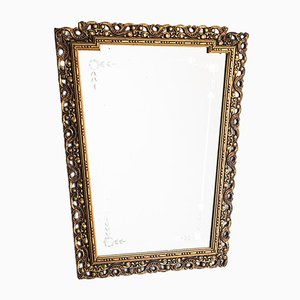 Vergoldeter spanischer Vintage Spiegel aus Holz, 1960er