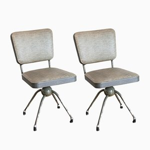Spanish Industrial Grey Swivel Chairs, 1950s, Set of 2