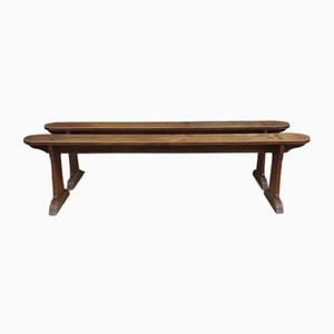 Antique Oak Benches, Set of 2