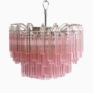 Lámpara de araña de cristal de Murano con 107 quadriedri en rosa, años 80