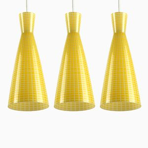 Mid-Century Glass Diabolo Pendant Lamps by Aloys Gangkofner for Peill & Putzler, Set of 3