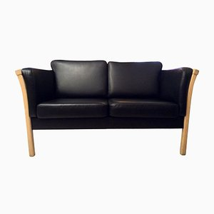 Swedish Beech and Leather Two Seater Sofa, 1970s