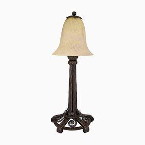 Lampe de Bureau Art Deco en Verre et Fer Forgé par Charles Schneider