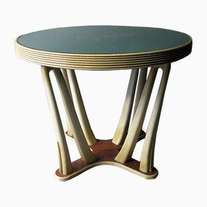 Mesa vintage de madera pintada con tablero de vidrio